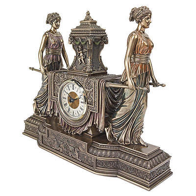 French Inspired Versailles Beautiful Maidens Quality Sculptural Mantel Clock