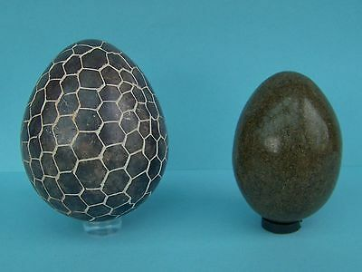 polished stone eggs, 2, Serpentine from Zimbabwe & another type