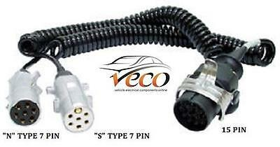 24 Volt Trailer Adaptor Coil Converts 15 Pin Plug To 2 X 7 Pin Plugs Mec19