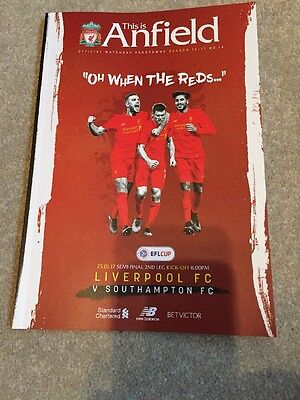 Liverpool FC V Southampton FC Official Match Day Programme