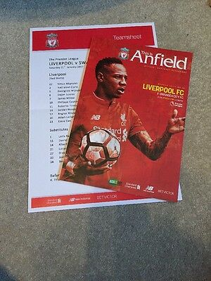 Liverpool FC V Swansea FC Official Match Day Programme & Team Sheet