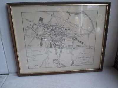 Vintage Map, 'a New Plan Of The Borough Of Reading 1840'. Engraving?