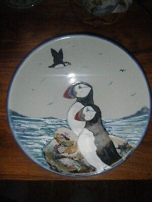 Stunning Highland Stoneware Large Flared Bowl Excellent Condition Puffin Design
