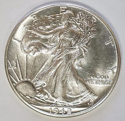 1942 P 50C Walking Liberty Silver Half Dollar Uncirculated   (D-39)