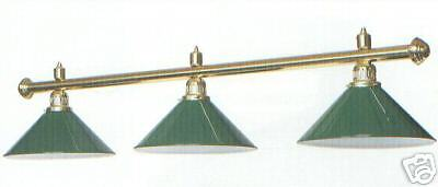 Brass Pool Snooker table light 3 green metal shades lighting canopy shade
