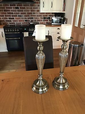 Lovely Bronze And Glass Candle Stick Holders