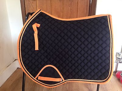 Quality Quilted Black With Orange Edging And Rope Saddle Pad - Size Pony
