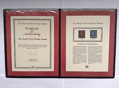 Westminster Collection Penny Black 1840 And Two Penny Blue 1841 Stamps With COA.