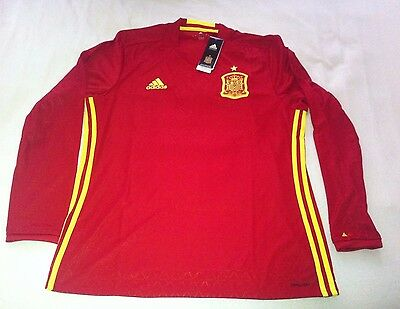 BNWT Adidas 2016/17 Spain Home Shirt *Long-Sleeved* Jersey Espana *Large Mens*