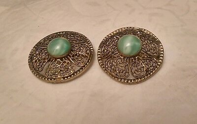Pair of Vintage Filigree Clips Clasps Buckles