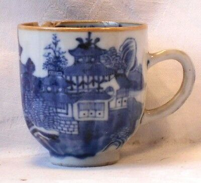 C18Th Chinese Blue & White Cup With A Temple And Lake Pattern  A/f