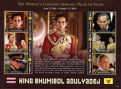 Gambia 2016 MNH King Bhumibol Adulyadej Thailand 6v M/S II Royalty Stamps