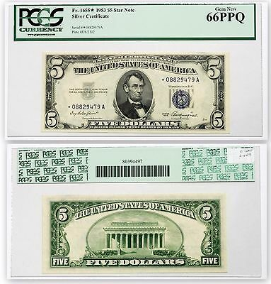 FR 1655* Star $5 Note 1953 Silver Certificate 66PPQ