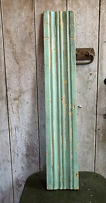 Antique 1887 Vtg Architectural Salvage Painted Chippy Green Wood Board Trim #3
