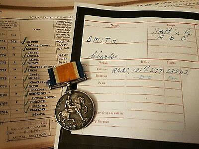 WW1 British War Medal Pte Smith 1st Northamptonshire Regiment