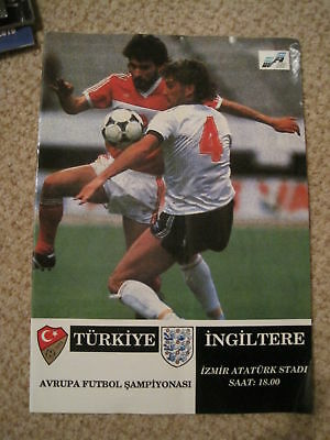 Turkey v England Programme Euro 92 Qualifier on 01/05/1991