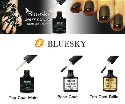 Esmaltes permanentes NEW TOP COAT MATE, base  y top coat brillo ---bluesky gel--
