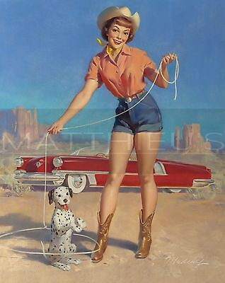 Bill Medcalf-Cowgirl With Her Star Puppy, Canvas/Paper Print, Pinup Girl