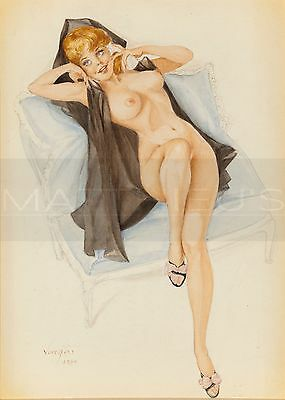Alberto Vargas-Reclining Young Redhead On The Telephone, Paper Print, Pinup Girl