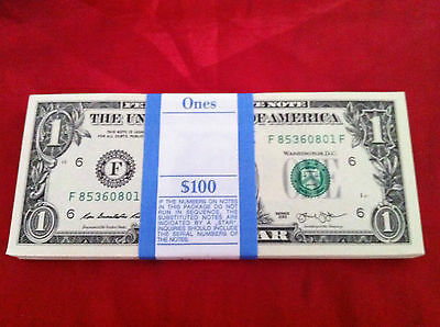 100 x $1 USD AMERICAN USA BULK BANKNOTE BILL NOTE UNC 2013 CONS. NUM. NOTES