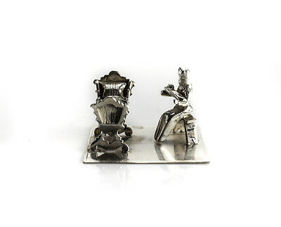 Dutch Silver Miniature Figurine -  Mother Holding Infant Child