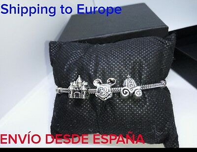 Charms mickey mouse castillo carruaje disney plata Pulsera Europea pandora