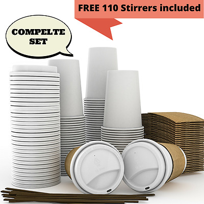 JUMBO Set of 110 - Paper Coffee Hot Cups, Travel Lids, Sleeves & Stirrers -12oz