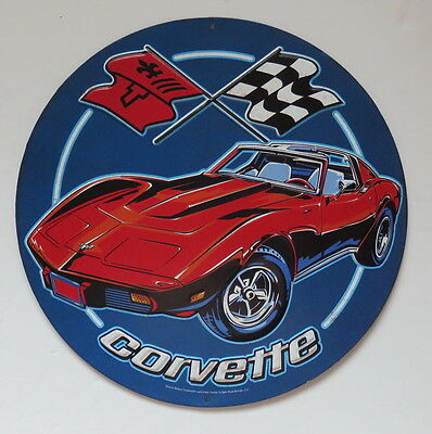 Chevrolet Classic Corvette Racing Flag Metal  Sign NEW