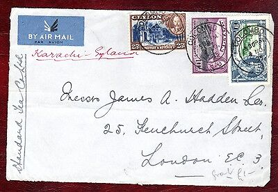 CEYLON STAMPS- KGV 10c,25c + Silver Jubilee 9c stamps on piece, 1935