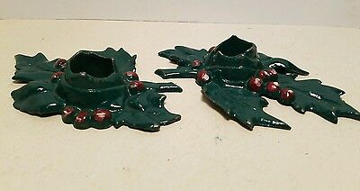 Pair 1921 Lula Verhoren Lavell LVL Cast Iron Christmas Holly Candle Holders  A