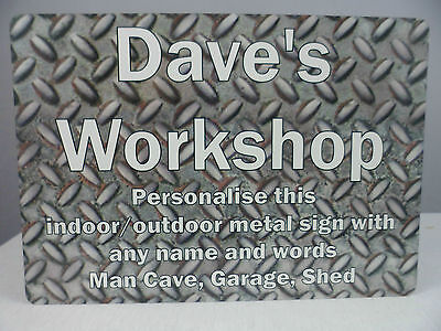 Personalised Sign Workshop Garage Plaque Shed Man Cave Gift Metal WEATHERPROOF
