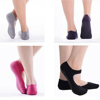 Women Yoga Pilates Sock with Grips Non Slip Skid Barre Backless Cut Ankle Dance