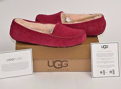 Womens UGG Australia Scalloped size 8 Shoes Slippers Moccasins Wine Burgundy Red