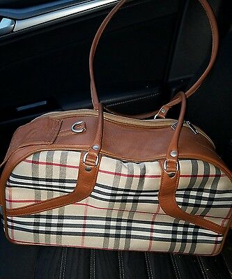 Dog/Cat/Pet/Carrier/Purse/Tote/Bag - Petote  Carrier - Leather Nova Check RARE