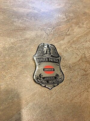 Vintage Metal Amoco Border Patrol Junior Patrol Inspector Badge-good condition