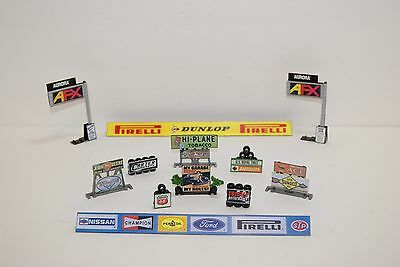 Ho Scale Slot Car Scenery /12 piece SIGNAGE SET for AFX,TYCO,HOT WHEELS DIORAMAS
