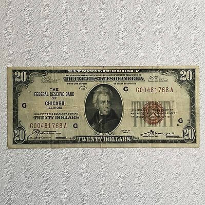 1 - 1929 $20 Federal Reserve Bank Of Chicago  National Currency