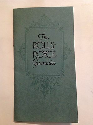1927 Rolls Royce Guarantee Brochure 1968 Reprint
