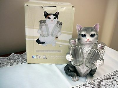 Large Resin Cat Holding Salt & PepperShakers NEW with Box