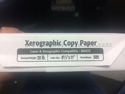 Xerographic Copy Paper 8 1/2 X 11 500 Sheets 5 Bundles