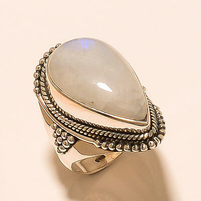 Handmade 925 Sterling Silver Natural Rainbow Moonstone Fine Jewelry Ring Sz-9