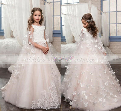 Flower Birthday Crystal Communion Wedding Girls Pageant Dresses Party Prom Gown