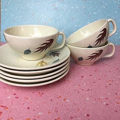 VINTAGE FRANCISCAN AUTUMN LEAVES EARTHENWARE CUPs & SAUCERs