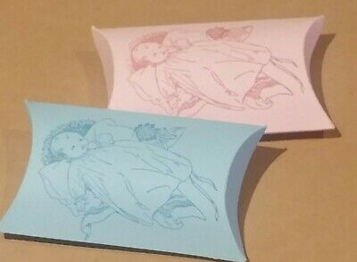 Vintage boy/girl, blue/pink Baby shower pillow boxes-Pack of 100,