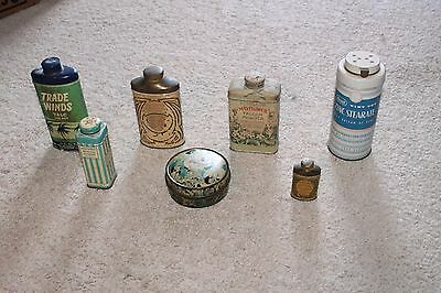 Lot of 7 Assorted Vintage Powder Tins Talc for Men Mennen Borated Powder Colgate
