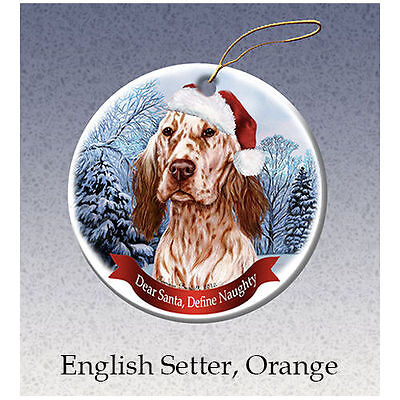 English Setter Orange Howliday Porcelain China Dog Christmas Ornament
