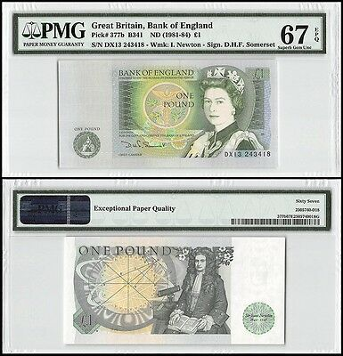 Great Britain 1 Pound, ND 1981-84, P-377b, UNC, I Newton, QEII, PMG 67 EPQ