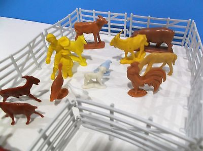 Vintage Assorted Plastic Animals fence people Marx and Other Playsets