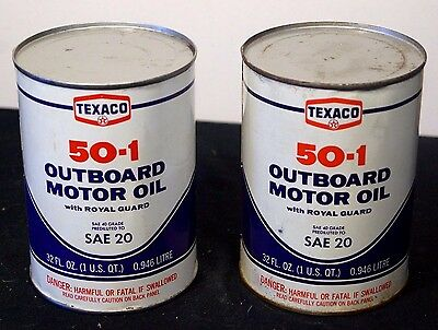 2 X Vintage NOS 1960s Texaco Outboard Motor Oil Advertising Cans Tins