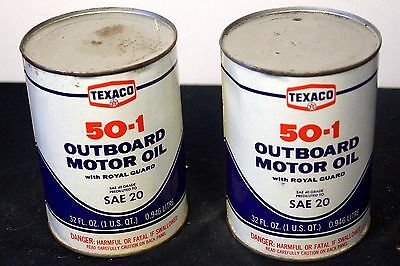 2 X Vintage NOS 1960s Texaco Outboard Motor Oil Advertising Cans Tins #2
